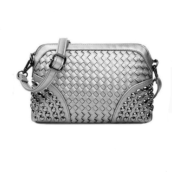 Knitting Corssbody Bag Women Messenger Silver Hand Bags Mini Gold Woven Day Clutch Rivets Black Leather Beach Shoulder Gold Bag