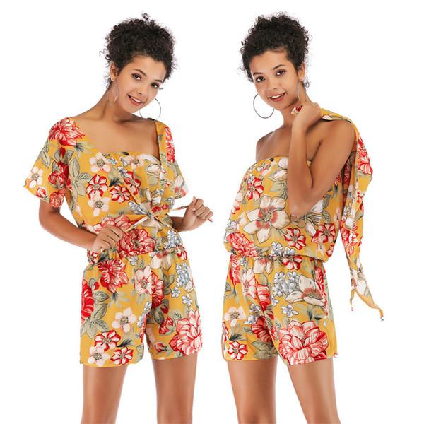 Nouvelle Mode 2019 D'été Élégant Imprimé Floral Mousseline De Soie Costumes Châle Tops + combinaisons femmes Streetwear 2 Pièce Ensembles