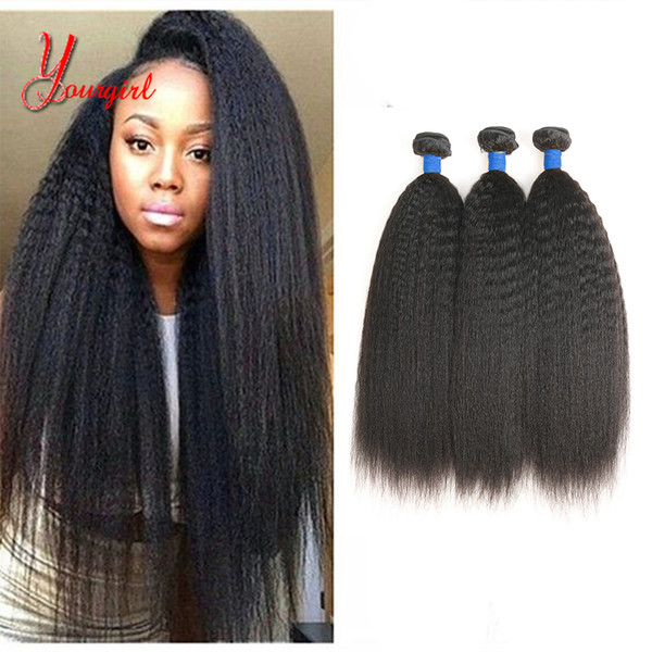 100% Unprocessed Brazilian Kinky Straight Human Hair Weave Bundles #1B Natural Color Machine Double Weft Can Be Dyed 8-28 Inch Free Shipping
