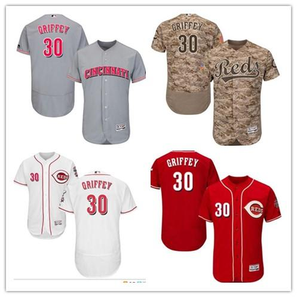 2019 costume Cincinnati Majestic Jersey Red # 30 Ken Griffey mulheres jovens de Homens Início Azul Cinzento Branco Baseball Jerseys