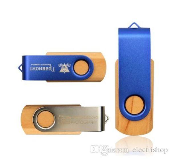 Free shipping Maple&Metal Memory Stick Pendrive 16GB 32GB 64GB 8GB USB 2.0 Flash Pen Drive Photography Custom LOGO (over 30pcs Free Logo)