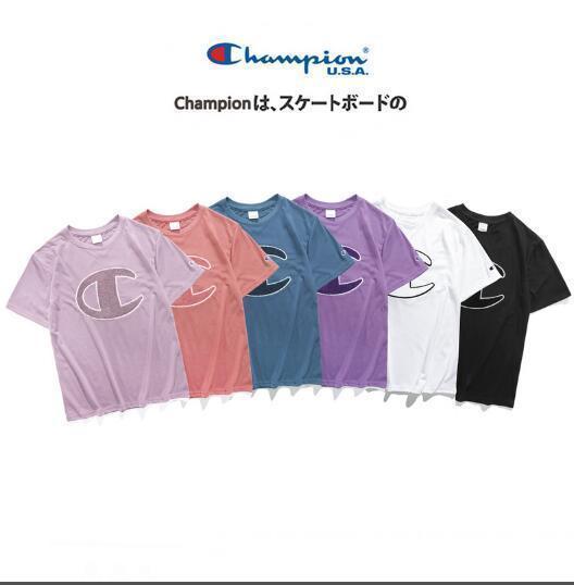 2019 Летняя марка С анти-контрафактной продукцией 2019ss новая футболка Champions Big C с вышивкой с короткими рукавами и футболками Kanye West Tops Tees
