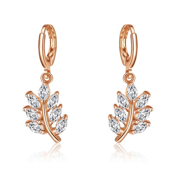 6 Pair Newest Multicolor Cubic Zirconia Crystal Leaves Earring Rose Gold Fashion Women Wedding Party Dangle Earring jewelry Free Shipping