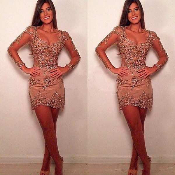 Long Sleeve Short Prom Cocktail Dresses Sexy Sweetheart Sparkly Lace Beaded Nude Champagne Mini Occastion Party Evening Wear Gown