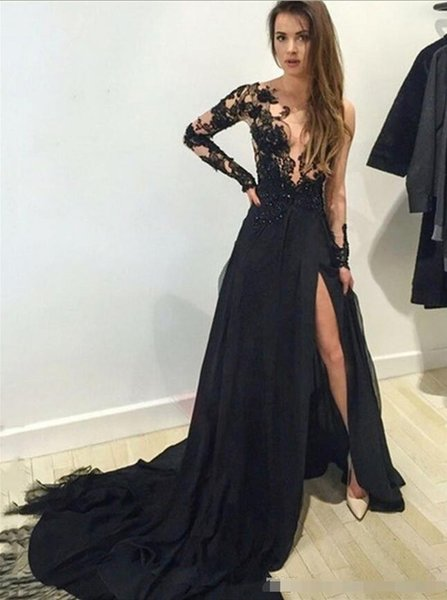 Abendkleider Lange 2019 Sexy Durchsichtig Langarm-Abschlussball-Kleid Appliques Spitze High Side Slit Schwarz Chiffon Abendkleid