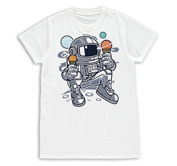 Mens T-shirt Astronaut Ice Cream Cartoon Cool Fashion Slim Fit S-XXL tshirt tee Funny free shipping Unisex Casual