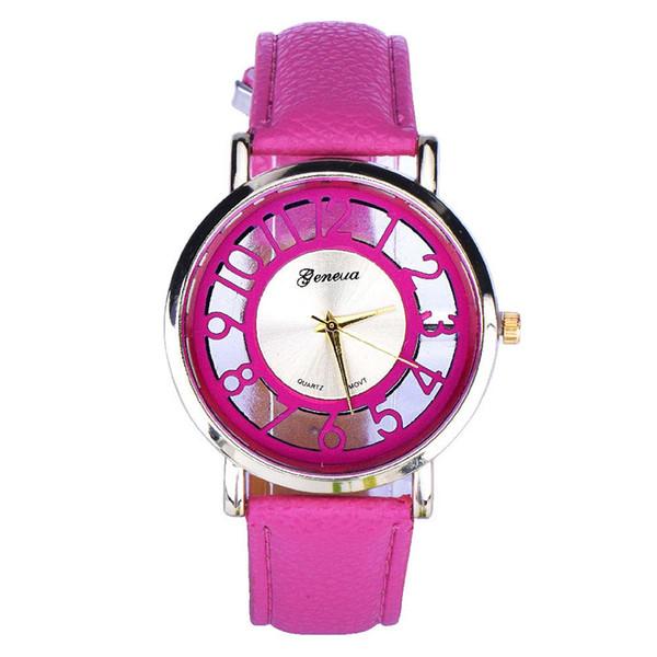Reloj de pulsera de cuero de cuarzo analógico para mujer, clásico, hueco, correa de cuero, reloj de pulsera analógico de cuarzo para mujer, relogios femeninos