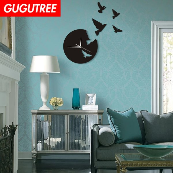 Decorate Home 3D number mirror clock art wall sticker decoration Decals mural painting Removable Decor Wallpaper G-187