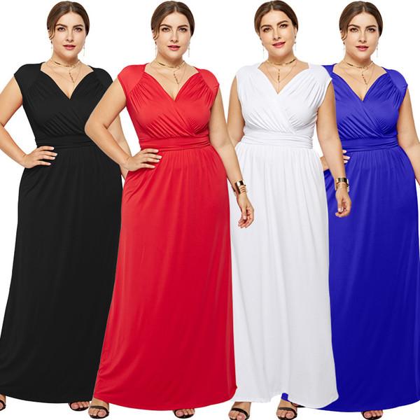 Modische feste reine Farbe Kleid für sexy Frau plus Größe m-3xl schlanke Taille V-Ausschnitt ärmellose lange Kleider