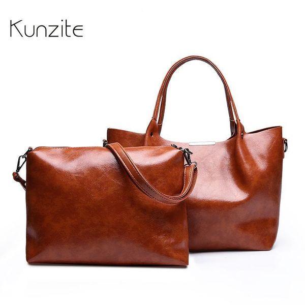 KUNZITE Leather Handbags Big Women Bag High Quality Casual Female Bags Trunk Tote Spanish Brand Shoulder Bag Lady Large Bolsos