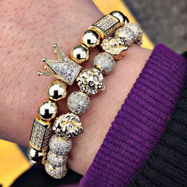 2019 New Luxury Crown Lion Men Bracelet Pave Cubic Zircon Braided Macrame Gold Lion Charm Bracelet For Men Women Jewelry Gift