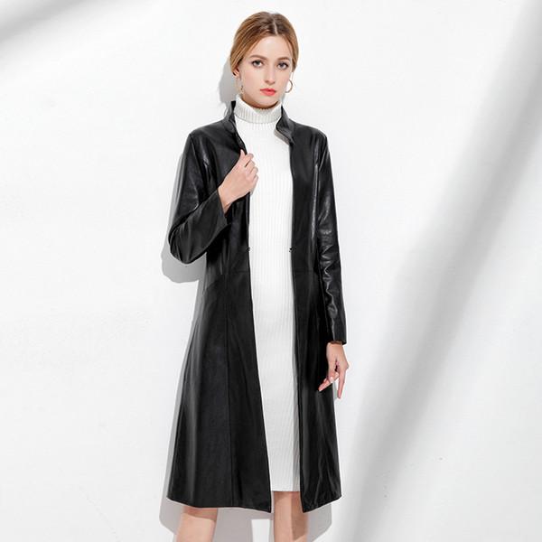 Neue herbst winter frauen aus echtem leder graben high-end haining echtem schaffell mantel weiblich schwarz schlank büro lange
