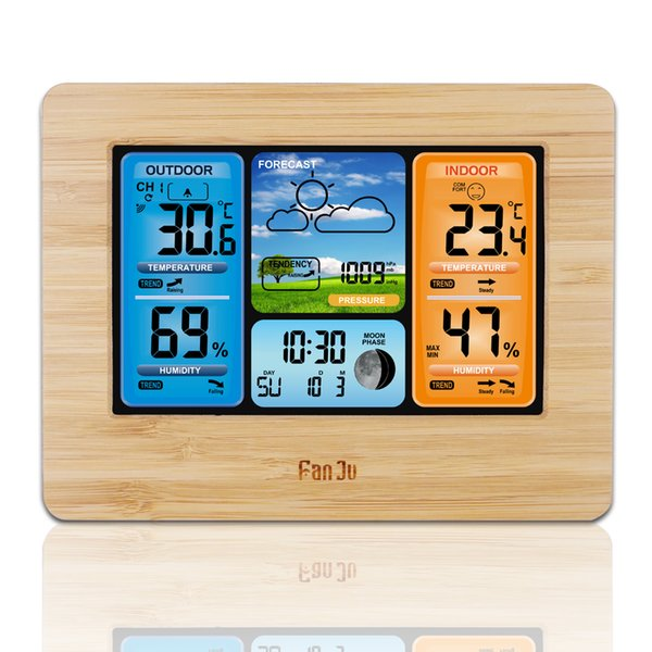 Digital Weather Forecast Station Wall Alarm Clock Temperature Humidity Backlight Snooze Function USB Power Supply FJ3373