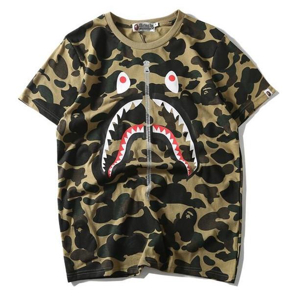 nova Mens camiseta Moda tubarão impressão camisetas Homens Mulheres de alta qualidade Camisas Casual Azul Roxo Verde Tamanho M-2XL