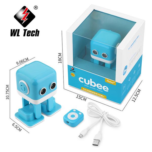 Wltoys Cubee Rc Intelligent Robot Intelligent Bluetooth Haut-Parleur Musical Danse Jouet Atrractif Led Visage Bureau Cadeau B Geste Interatif Y19051804