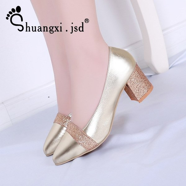 Designer Dress Shoes Shuangxi.jsd Woman 2019 Summer New Pumps Women high heel Fashion High Quality Black Elegant Plus Size heels