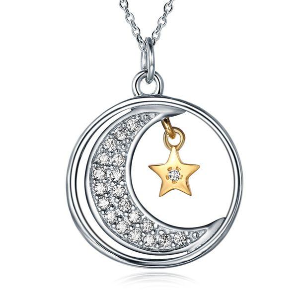 Corea estrella de la luna romántica colgante, collar de las señoras de plata de ley 925 de circón embutido de dos colores tendencia de la moda collar