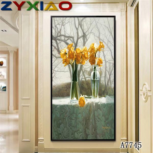 Acheter Zyxiao Affiche Et Estampes Mur Art Toile Peinture Fleur Jaune Rose Mur Photos Pour Salon Couleur Décoration No Frame Peinture A7745 De 20 05
