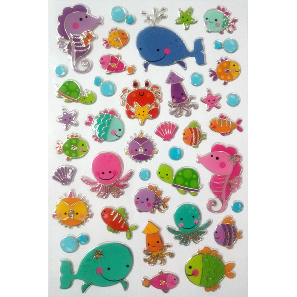Cheap Classic toys World Sea fish Marine animal sticker toy Cute fish girl toys gift whale hippocampi Sea turtle stickers