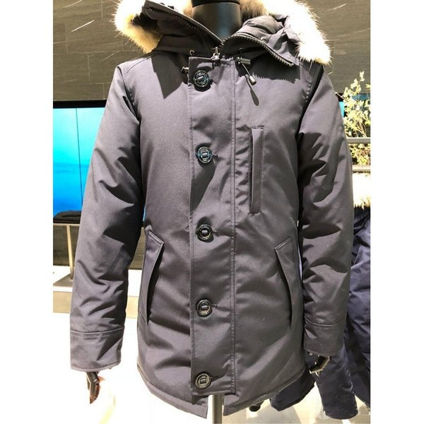 Canada Down Jacket For Men High Quality Real Wolf Fur Collar Hood Parka Jacket Button Mens Outerwear Anorak