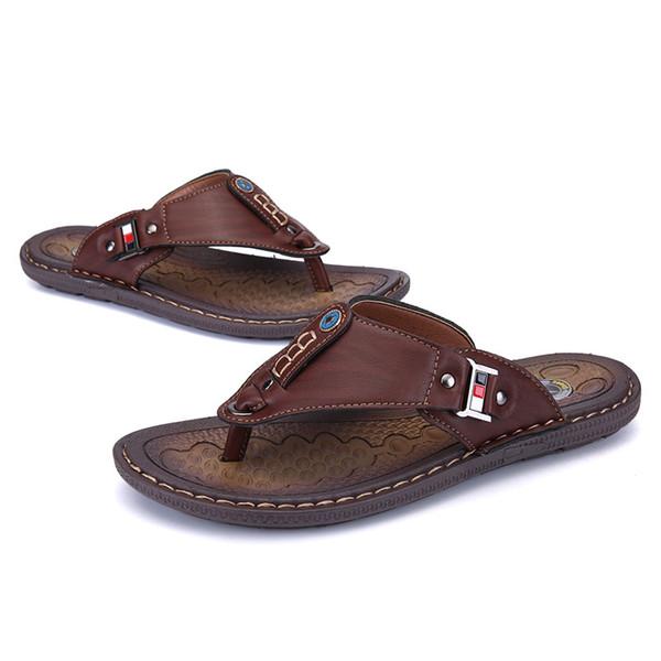 2019 vendedor caliente al aire libre de los hombres de sandalias flip-flops Casual antideslizantes sandalias peep-toe de los hombres de
