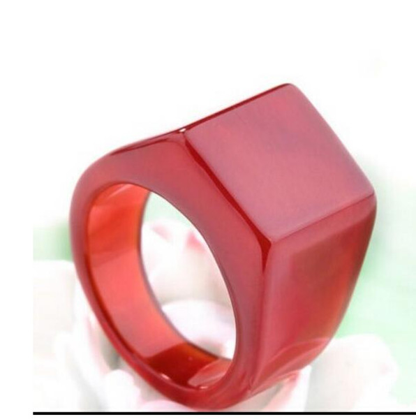 FREE SHIPPING+ Genuine natural red chalcedony ring pull that large black men and women.