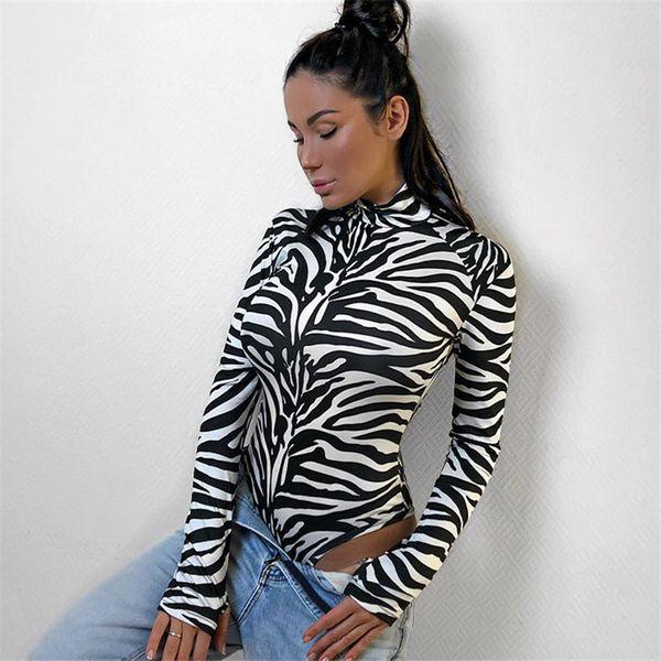 HEYounGIRL Zebra Impressão Gola Bodysuit Bodycon Manga Comprida Bodysuit Mulheres Preto Branco Algodão Corpo Macacões Macacões Magros