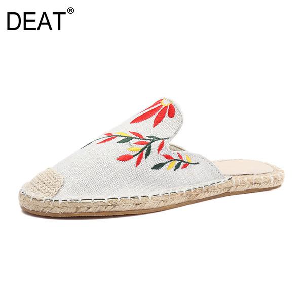[ÖLÜM] 2019 Yeni Bahar Yaz Yuvarlak Ayak Sığ Nakış Rahat Dışında Düz Terlik Kadın Ayakkabı Moda Gelgit 10A856
