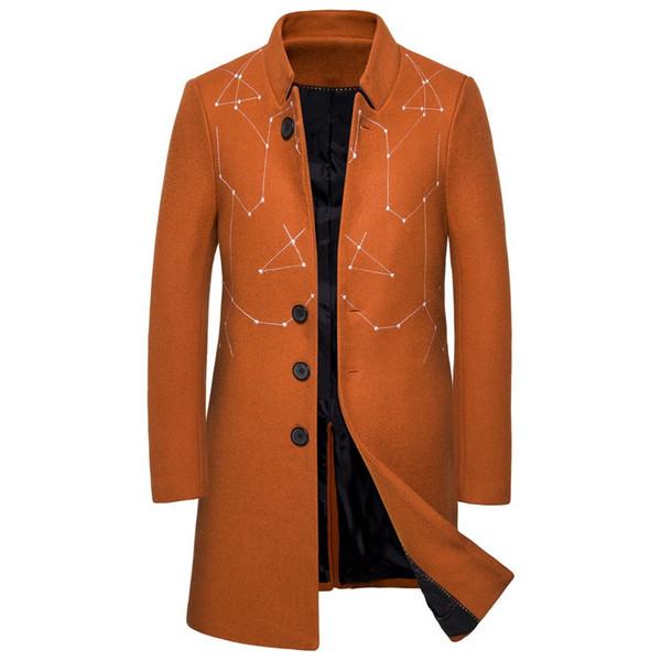 Winter Jackets and Coats Men Overcoat Business Casual orange Warm Men Wool Jackets Long Slim Fashion Coats Clothes Abrigo