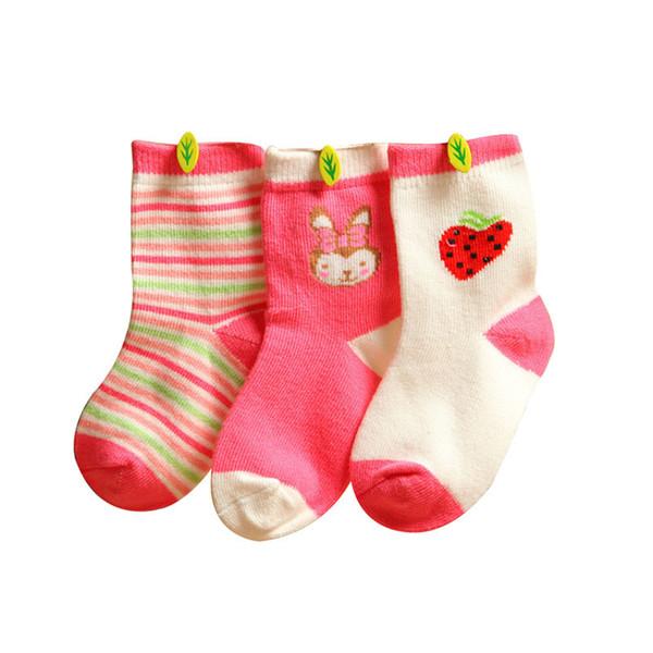 3 Pares de Moda Bebê Infantil Inverno Macio Dos Desenhos Animados Meias Absorver Suor Respirável Listrado Anti-slip Tornozelo Meias 0-3 anos Novo