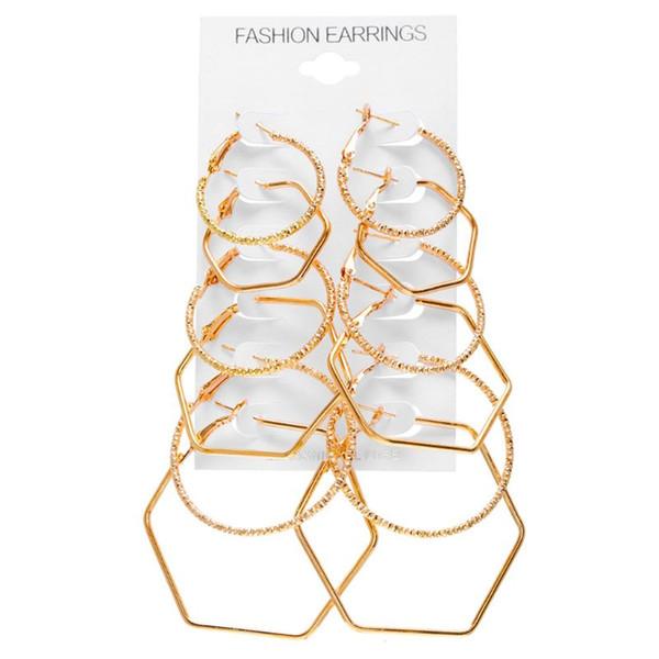 6 paire / set New exagéré femmes oreille anneau simple géométrique polygone boucle d'oreille Rock personnalité boucles d'oreilles