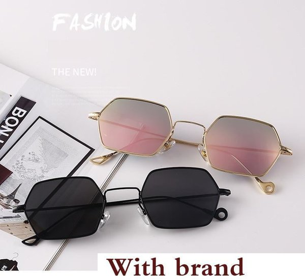 arrival Polygon sunglasses men women design Metal frame feminino masculi mirror sun glasses oculos de sol with free cases and box
