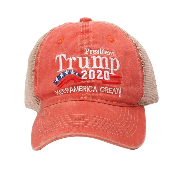 Washed Embroidered Mesh Baseball Cap American President Election Hat Outdoor Sports Accessories With Adjustable Back Closure