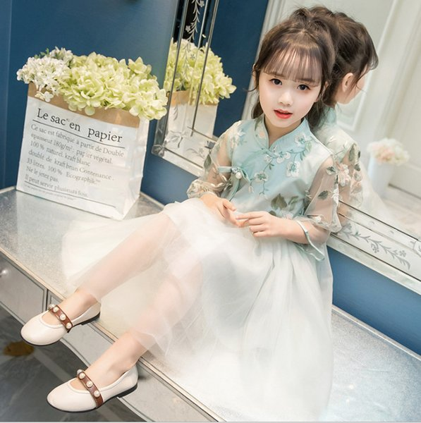 Girls lace floral embroidery cheongsam dress kids pearls Bows brooch princess dress 2019 spring children lace tulle tutu dresses F4327-