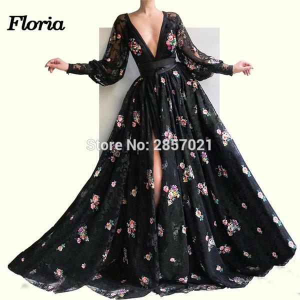 Schwarz Sexy Split Abendkleider Vestido de festa Neww Ankunft Aibye V-Ausschnitt Abendkleid Für Hochzeiten 2019 Party Islamic Dubai