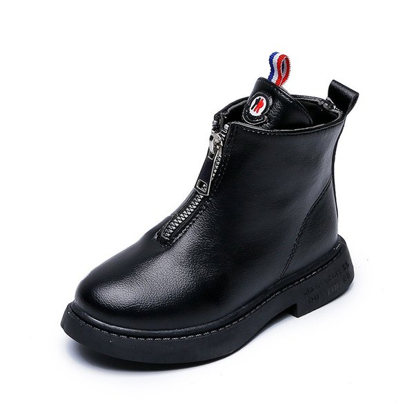 Spring Autumn Children Boots For Girls Fashion Boots Kids Shoes Ankle Boots School Girls Shoes Round Toe Flat with Zip