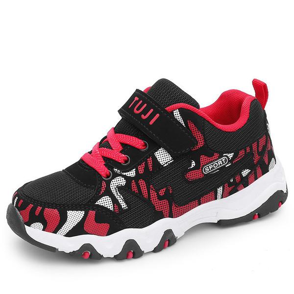 2019 Yeni Erkek Spor Ayakkabı Koşu Kaymaz Yürüyüş Ayakkabıları Rahat Nefes Çocuklar Eğitmenler Mavi Kırmızı Erkek Çocuk ayakkabı