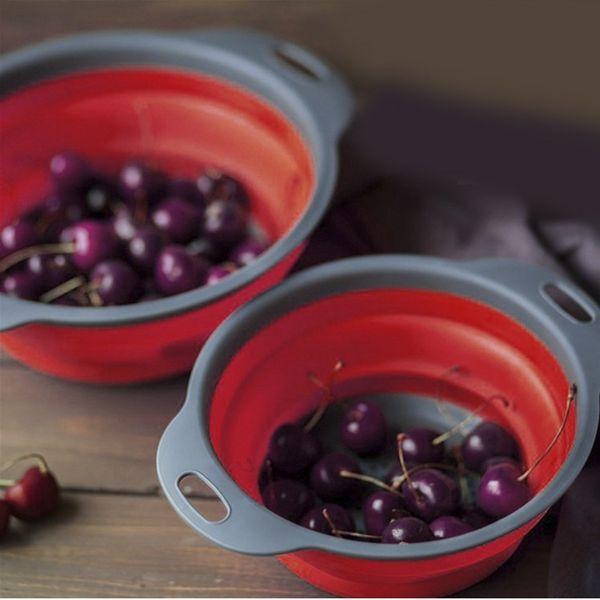1 Piece Round Folding Colander Washing Drain Basket Eco-Friendly Food Fruits Vegetable Wash Basket Home Kitchen Supplies