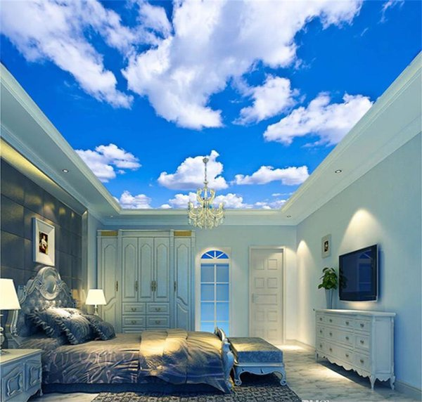 Taille personnalisée Bleu Ciel Blanc Nuage Papier Peint Murale Salon Lit Lit Toit Plafond 3d Papier Peint Plafond Grand Ciel Étoilé Papier Peint 3d Mural