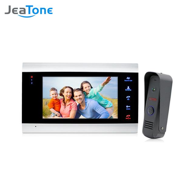 JeaTone 7'' Video Doorphone Intercom Systems On-door Speakerphone Pin-Hole Camera Home Security Video Door Phone Kit Door Entry System