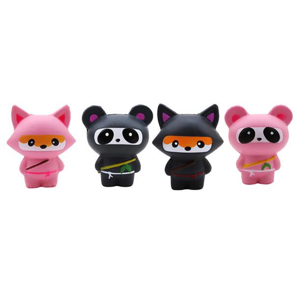 Nero panda ninja occhio volpe personalizzare scherza il regalo simpatico cartone animato morbida schiuma poliuretanica giocattolo squishy squishy volpe