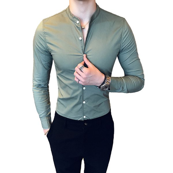 2019 New Men's Fashion Boutique Cotton Solid Color Collar Casual Business Long-sleeved Shirts Male Slim High-end Leisure Shirts T2190613