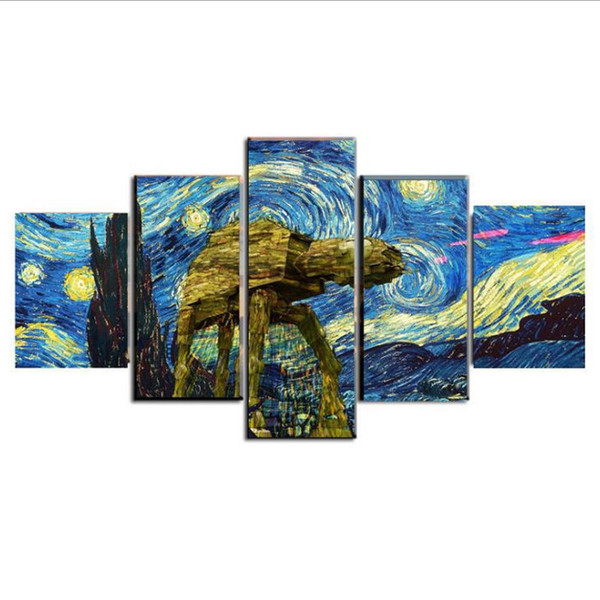 5 Pcs Combinations HD Vincent van Gogh abstract painting Framed Canvas Painting Wall Decoration Printed Oil Painting poster