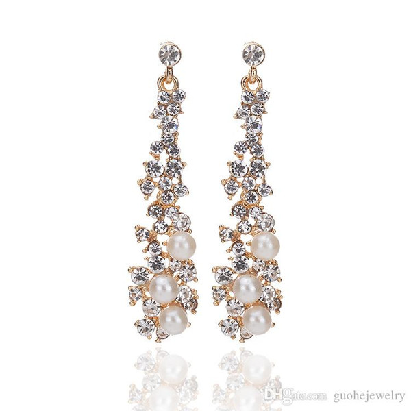 Fashion long party gown jewelry Pearl Crystal Fringe Earrings for women gold earrings brincos ouro