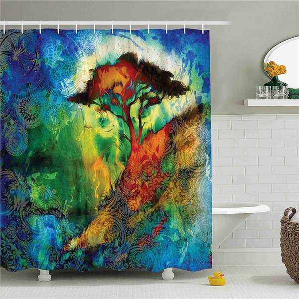 Fairy Shower Curtain, Three Dimensional Mythical Creature Design with Magical Artifact on Pedestal Forest, Fabric Bathroom Decor Set