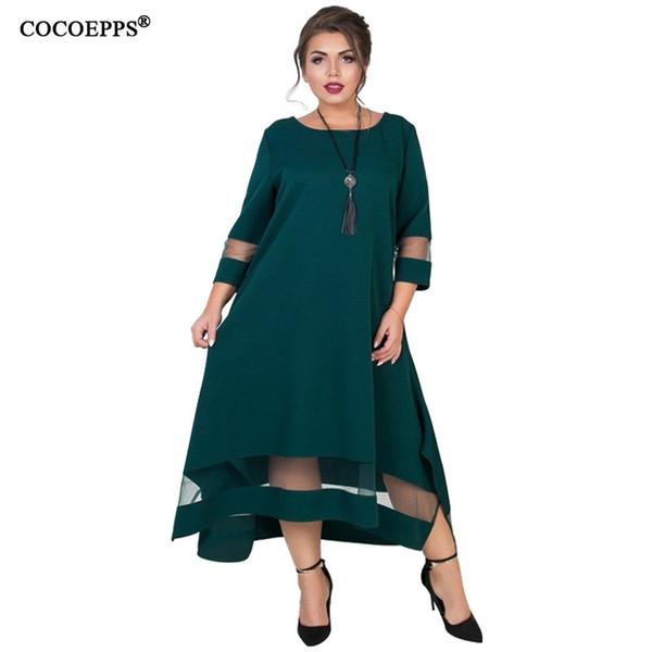 Cocoepps Plus Size Women Summer Dress 5xl 6xl Mesh Elegant Large Size Dress Maxi Long Party Big Size Dresses Autumn Vestidos J190720