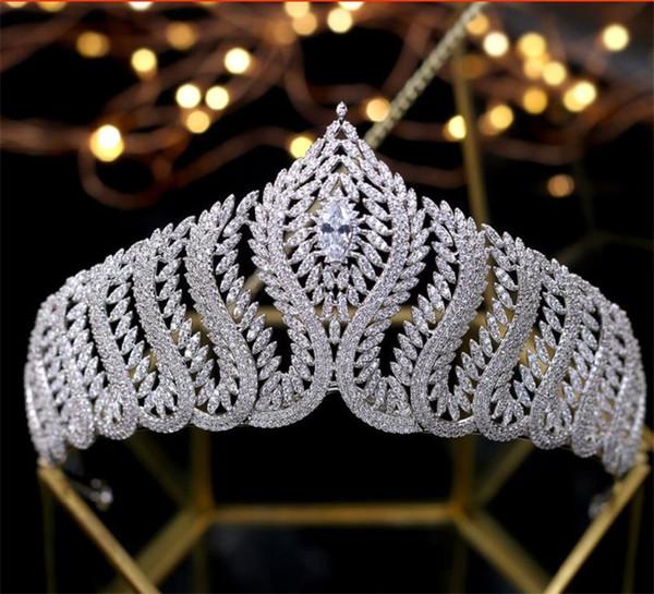Elegant Queen Crown Zircon Tiara Pageant Wedding Bridal Women Hair Jewelry Accessories Headpiece Headband Silver Prom Ornament Headwear