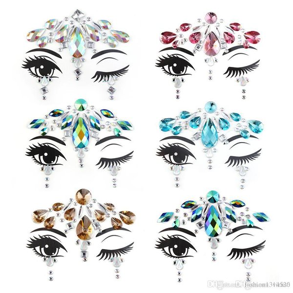 DIY Face Temporary Tattoo Stickers Face Gems Rhinestone Adhesive Face Stickers Festival Fancy Party Body Glitter Makeup Sticker
