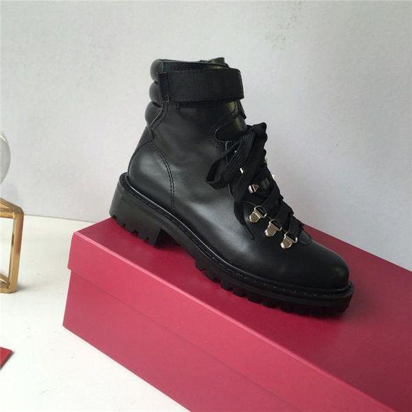 Klasik Tasarımcı Kadın Ayak Bileği Çizmeler, sonbahar ve kış motosiklet boots Dantel-up Rahat Moda Ayakkabı kutusu ile boyutu 35-39