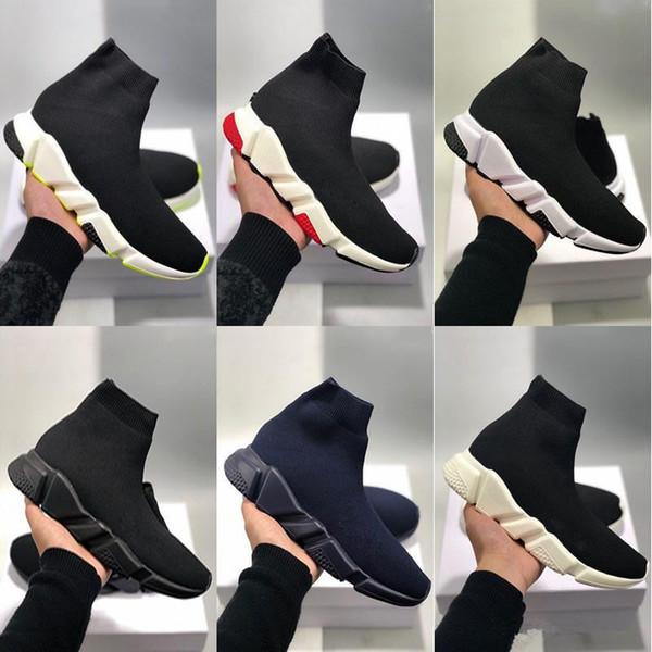 2019 En İyi Kalite Hız Eğitmeni Siyah Erkek Kadın Siyah Kırmızı Rahat Ayakkabılar Moda ÇorapBalenciaga ayakkabı Sneaker Top Boots